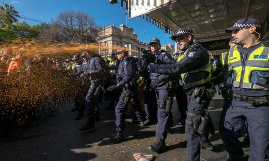 Police use pepper spray on counter-Reclaim Australia protesters in Melbourne on 18 July.