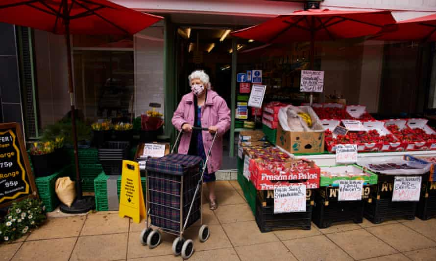 A woman shopping amid the outbreak of the coronavirus disease (COVID-19) in Formby, part of Sefton Borough Council