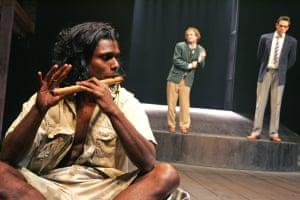 Hamlet, 2006. Directed by Janet Suzman, designed by Peter Cazalet. The photograph shows Hamlet (Vaneshran Arumugam), Guildenstern (Nicholas Pauling) and Rosencrantz (Marcel Meyer).