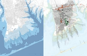 An aerial map visualising projected flooding in New Mastic in 2050 versus flooding in the proposed development