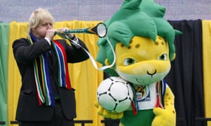 Boris Johnson during an event to mark the start of the World Cup in South Africa, 2010.