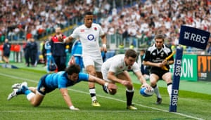 Ford scores the first try for England.