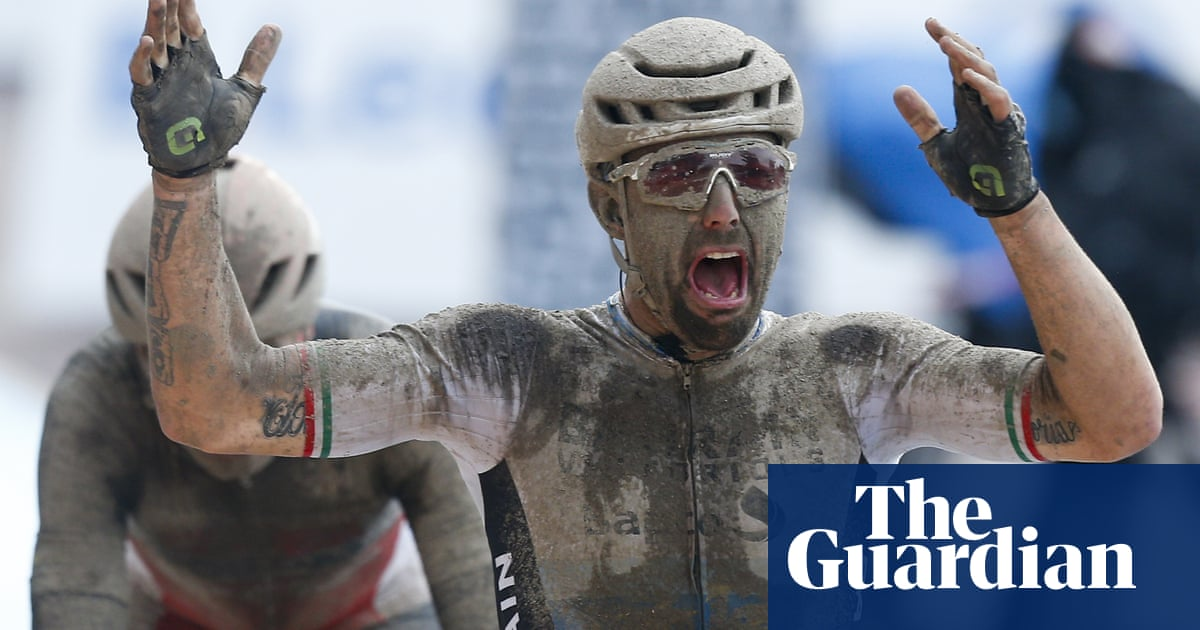 Sonny Colbrelli sprints to Paris-Roubaix victory after race through rain and mud