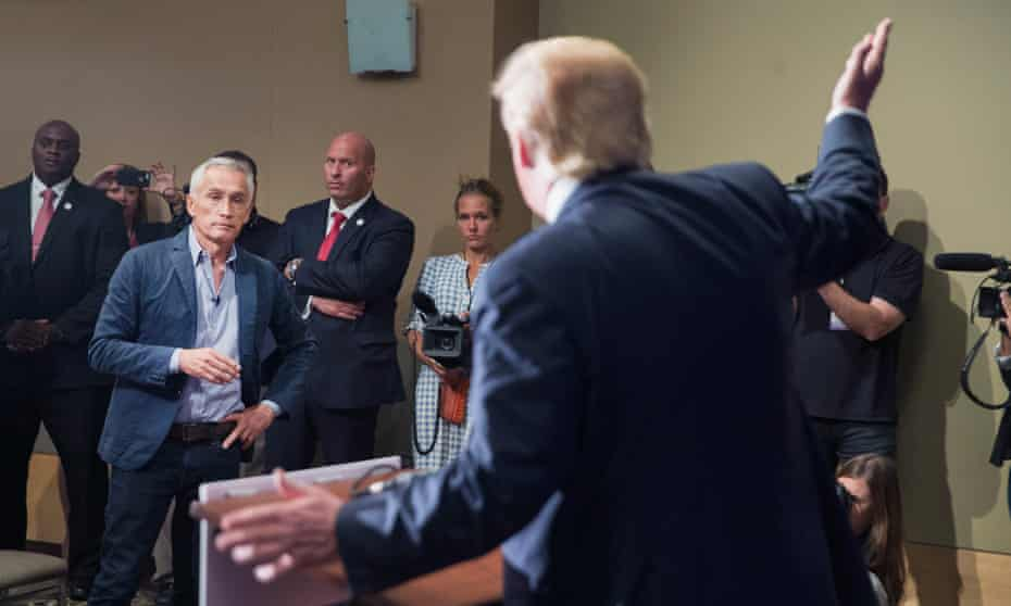 Donald Trump, then one of several Republican candidates, fields a question from Univision and Fusion anchor Jorge Ramos at the Grand River Center on 25 August 2015 in Dubuque, Iowa.