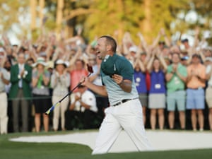 Sergio Garcia reacts after making his birdie putt on the 18th green to win the Masters.