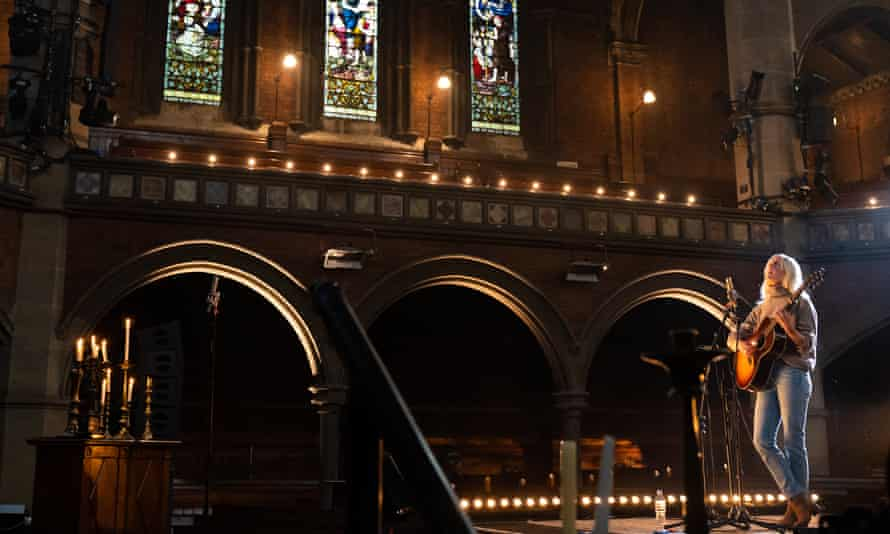 Laura Marling performing a live-streamed gig to an empty Union Chapel, London, 6 June 2020.