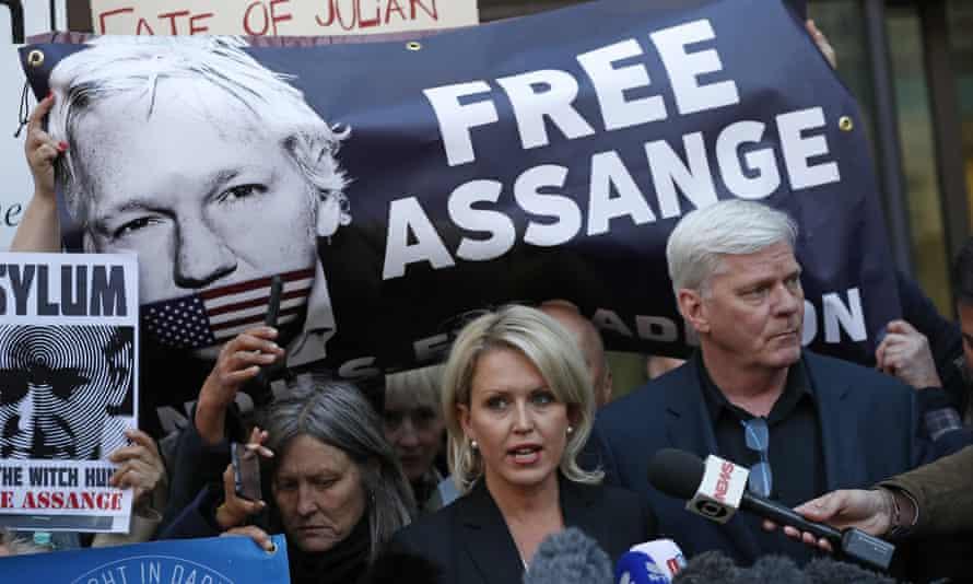 Kristinn Hrafnsson, editor of WikiLeaks, right, and barrister Jennifer Robinson speak to the media outside Westminster magistrates court, where Julian Assange was appearing on Thursday.