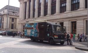 Cristian Florin Ivan's 'Iran is great' van outside the Science Museum, London, last week.