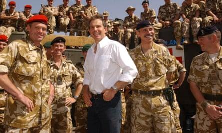 Tony Blair meeting troops in May 2003.