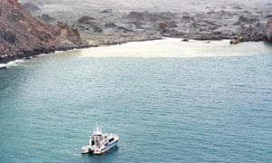 A support boat sat off the island while the rescue mission was carried out.
