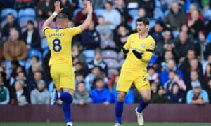 Álvaro Morata celebrates with Ross Barkley after Chelsea take the lead in the first half of their 4-0 win at Burnley.