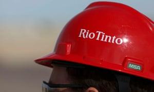 The Rio Tinto logo on a helmet