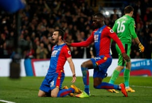 Luka Milivojevic celebrates after scoring from the spot.