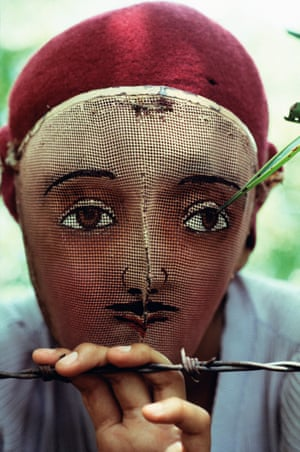 Nicaragua, 1978. A traditional Indian dance mask from the town of Monimbó, worn by anti-government fighters to conceal their identity during the battle against the dictator Anastasio Somoza Debayle