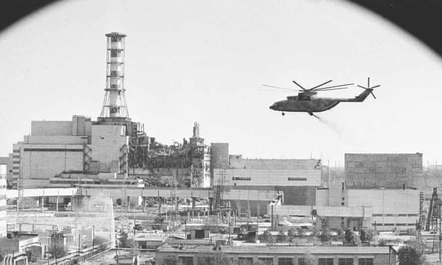A helicopter 'bomb run' on the damaged reactor in May 1986.