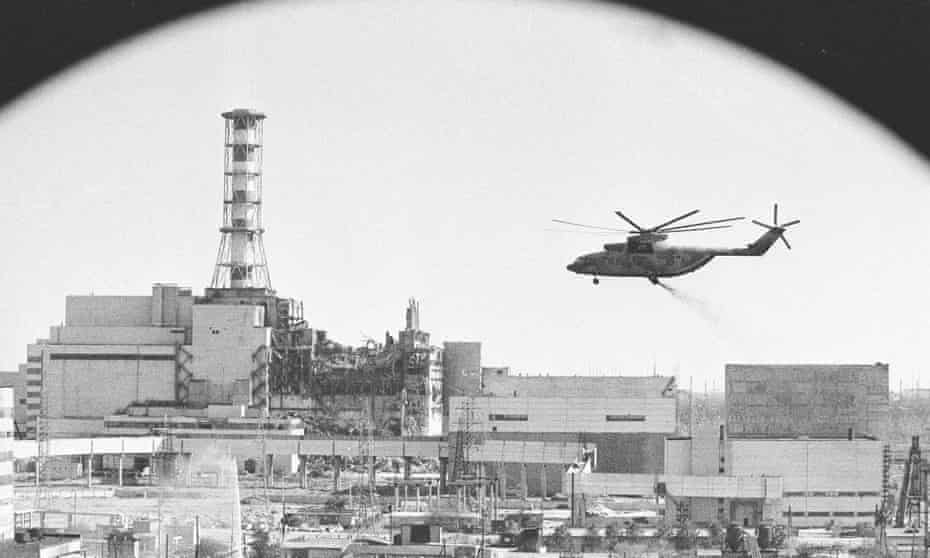 A helicopter 'bomb run' on the damaged reactor, one of many during which pilots exposed themselves to high levels of radiation.