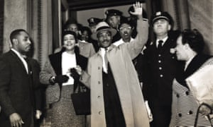 Martin Luther King Jr. and Coretta Scott King outside Harlem Hospital, 1958.