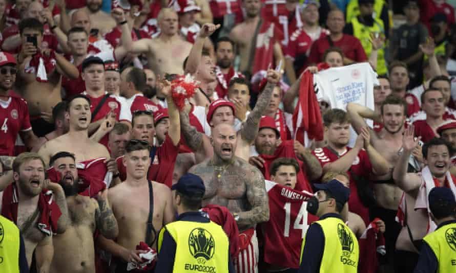 Danish fans during their team's quarter-final win over the Czech Republic in Baku