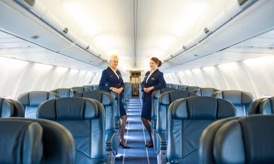 Female stewards aboard Rynair's first corporate jet