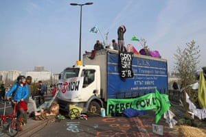 Climate change activists block Waterloo Bridge with their vehicle during the Extinction Rebellion protest in London