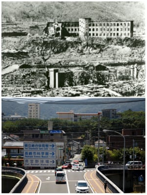 The ruins of the Shiroyama National School, which was destroyed in Nagasaki