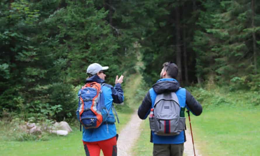 Two walkers head into woods on the Juliana walking trail in Slovenia.