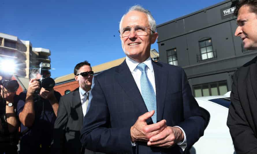 Malcolm Turnbull on the campaign trail in Adelaide on Monday.