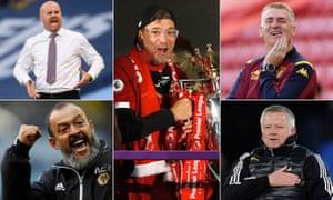 Burnley Sean Dyche, Liverpool's Jürgen Klopp, Aston Villa's Dean Smith, Sheffield United's Chris Wilder and Wolverhampton Wanderers' Nuno Espirito Santo.