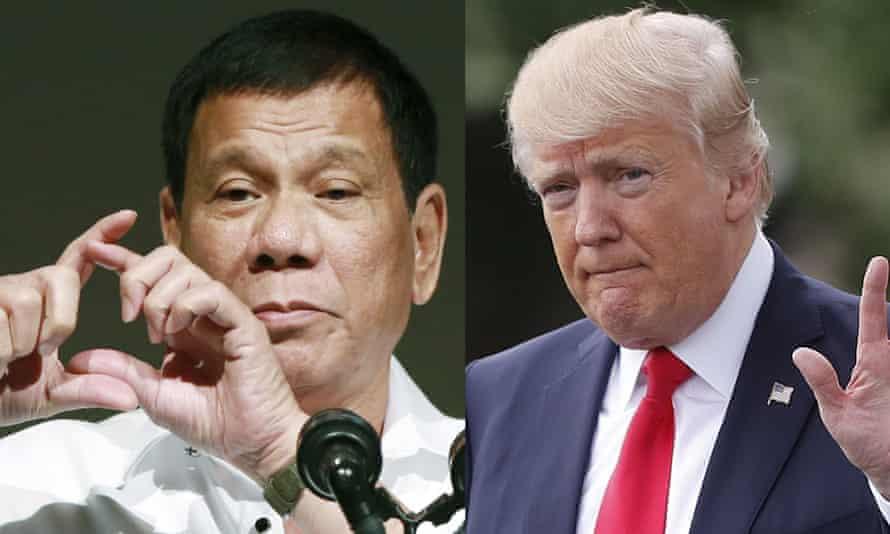 US president Donald Trump, right, has praised his Philippine counterpart, Rodrigo Duterte, left, for his 'war on drugs' that has left thousands dead.