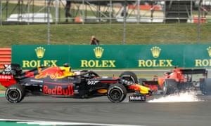 Red Bull's Max Verstappen and Ferrari's Sebastian Vettel crash.