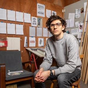 Cardiff artist Sean Edwards in his studio.
