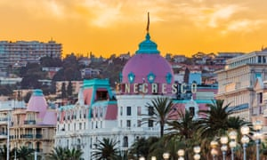 Hotel Negresco in Nice FranceNice, France - April 20, 2016: Cityscape with the hotel Negresco. Negresco is the famous luxury hotel on Promenade des Anglais in Nice, baie des Anges, symbol of the Cote d'Azur or French Riviera