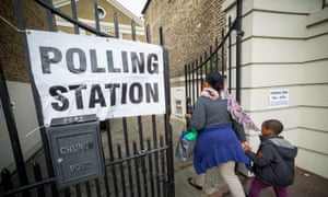 The polling station at New Cross Road baptist church in Lewisham, London in May 2015.