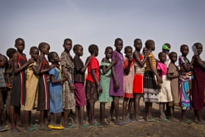 Young girls queue up to be registered for school