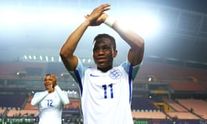 """""""Ademola Lookman celebrates victory with England against Italy at the 2017 Under-20 World Cup."""""""