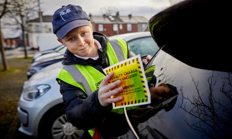 Bradley Roberts, 11, working as a junior PCSO