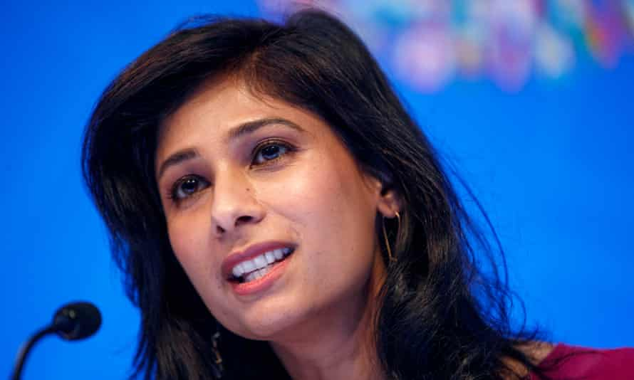 The IMF's Gita Gopinath says Covid-19 'pushed economies into a Great Lockdown, which helped contain the virus and save lives but also triggered the worst recession since the Great Depression'.