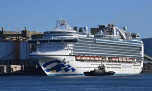 The Ruby Princess, with crew only onboard, docks at Port Kembla near Wollongong on Monday.
