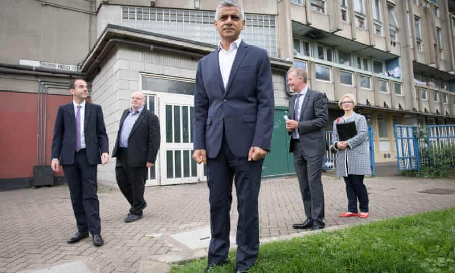 Sadiq Khan at the former Robin Hood Garden Estate in east London, site of a £300m regeneration.