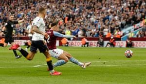 Matty Cash fires Villa into the lead.