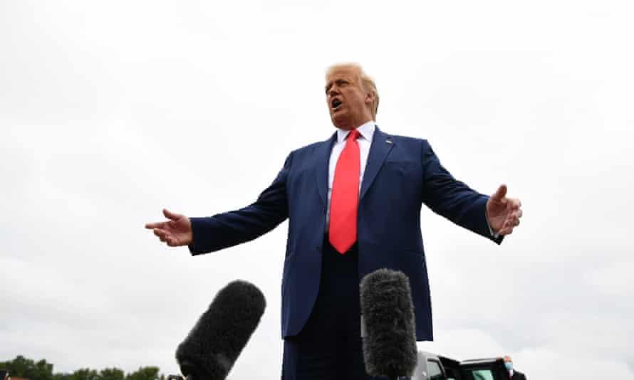 Donald Trump speaks to the media before heading to Kenosha, Wisconsin, Tuesday.