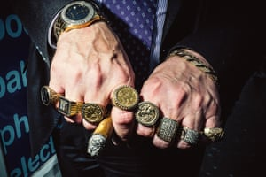 Rings: Rings on the hands of an Orange Order member shot in Edinburgh at around the time of the Scottish independence referendum. This close up detailing George and the dragon and King Billy was one of the rare occasions they requested permission to take a picture