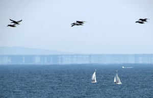 A Fata Morgana mirage over Monterey Bay, California, US