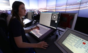 Staff give a demonstration in the operations room at Nats in Swanwick.