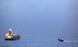 The Israeli navy pursues a ship seeking to carry humanitarian aid to Gaza on 31 May 2010 in the Mediterranean sea.