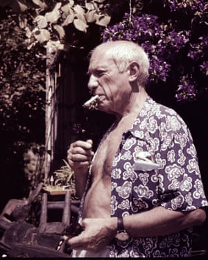Picasso in his garden. Photograph taken by Stanley Stanely.