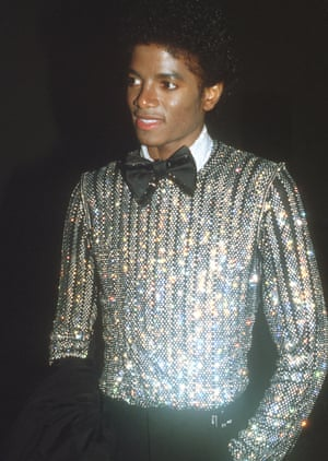 Same year, very different sartorial mood – Saturday Night Fever had come out the previous year and Michael Jackson had clearly caught the night fever here, in bow-tie and sequinned jacket.