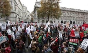 Protesters call for the abolition of tuition fees and an end to student debt in London last November.