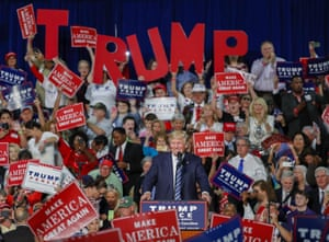 Donald Trump speaks during a campaign rally in Charlotte, North Carolina, in October 2016. A nativist, populist message helped him win the presidency that year.