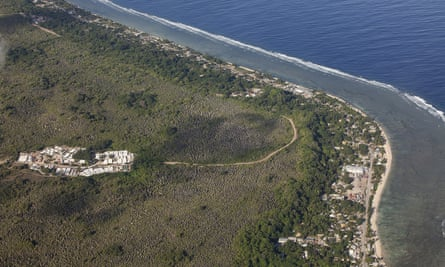 An aerial photo of Nauru that shows the offshore processing centre
